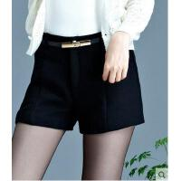 秋冬高腰收腹加厚毛呢打底短裤女新款韩版修身显瘦呢子靴裤