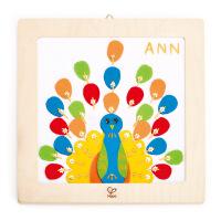 德国Hape儿童玩具DIY刺绣孔雀布贴画E5102益智早教
