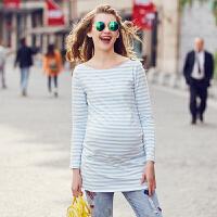 十月名裳 外出哺乳衣春秋时尚款孕妇T恤中长款孕妇春装上衣长袖打底哺乳装 97080