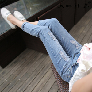春夏秋季弹力九分牛仔裤女生小脚裤显瘦中腰百搭紧身裤9分韩版女裤WM716