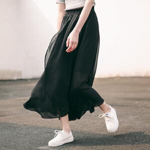 【当当年中庆】不规则雪纺半身裙 飘逸高腰显瘦裙子