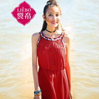 裂帛2017夏装新品圆领刺绣蕾丝长裙直筒甜美吊带连衣裙女51161959