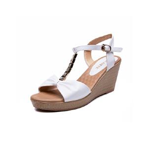 莎诗特2017夏季休闲新款轻质耐磨时装凉鞋露趾粗跟后空女凉鞋31136