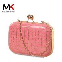 莫尔克(MERKEL)新款石头纹晚宴女士时尚链条单肩手拿手抓包斜挎小包时装夹子包