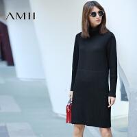 【AMII超级大牌日】[极简主义]2016冬新修身纯色罗纹高领纹理休闲连衣裙11692025