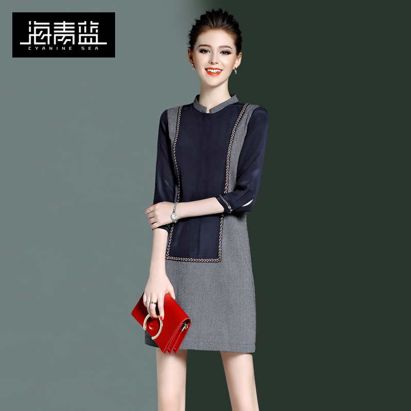 海青蓝2017春装新款欧美复古气质拼接修身七分袖立领连衣裙女8508