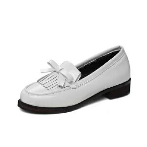 英伦时尚百搭低跟单鞋甜美蝴蝶结休闲鞋学院风学生鞋