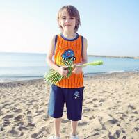 taga童装男童背心套装2017夏季条纹两件套中大童运动套装夏装新款