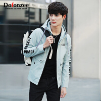 Dofonzee 春季男式夹克连帽印花薄外套