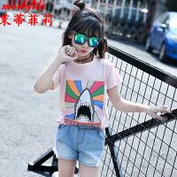 茉蒂菲莉 女童T恤 夏季童装短袖新款韩版儿童纯棉中大童宝宝童修身印花打底衫