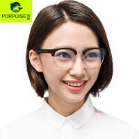 海豚防辐射蓝光电脑眼镜男女平光镜复古半框眼镜架可配近视护目镜