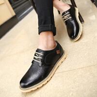 休闲皮鞋韩版鞋子青年圆头软面皮鞋英伦风个性时尚男鞋秋季夜店鞋