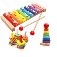 婴幼儿童益智男女孩音乐宝宝玩具积木制手敲八音敲琴1-2岁3-6周岁