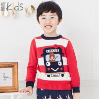 初语童装 儿童毛衣长袖套头男童毛衣针织衫T5404230061