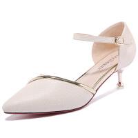 【夏季新款】古奇天伦包头凉鞋女士优雅一字扣女鞋2017春夏季新款细跟高跟鞋8641