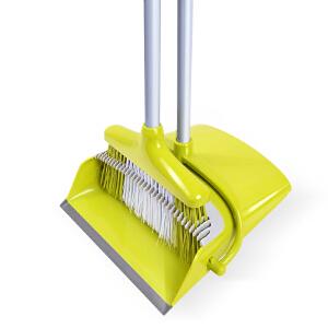 比思达(BIBEST) 家用扫把刮齿垃圾分离扫帚软毛笤帚树脂畚斗碳钢喷漆杆扫把簸箕套装组合浅绿色