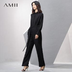 【预售】Amii2017春新宽松纯色翻领暗扣腰带阔腿连体裤11780255