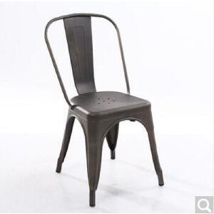 未蓝生活铁艺餐椅欧式复古做旧工业椅铁皮靠背椅高脚凳 亚光颜色拍下备注