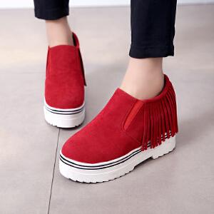 妃枫霏 冬季新款时尚单鞋内增高休闲鞋英伦流苏板鞋学生低帮鞋