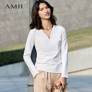 【预售】Amii 2017春新通勤V领长袖修身弹力百搭T恤女11720042