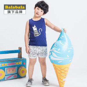 【6.26巴拉巴拉超级品牌日】巴拉巴拉旗下 巴帝巴帝男童韩风卡通针织套装2017夏背心短裤套装