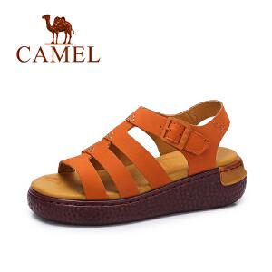 Camel/骆驼女鞋 2017夏季新款 舒适厚底摇摇鞋女 一字扣厚底凉鞋