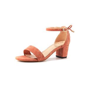 莎诗特粗跟凉鞋女夏2017新款女鞋露趾百搭一字扣中跟罗马女式凉鞋87018