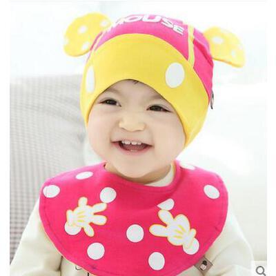 男女童帽子三角巾套装 宝宝韩版潮帽三角巾套装 儿童帽子男女宝宝套头