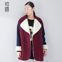 初语 摩登冬装新款女士毛呢外套 中长款格纹呢大衣女 8541224035