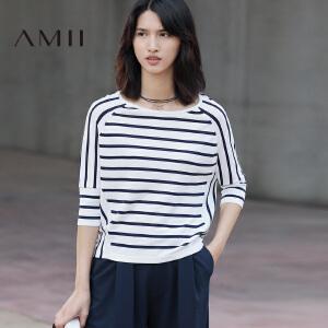 Amii[极简主义]2017春百搭宽松圆领插肩中袖条纹T恤女11741301