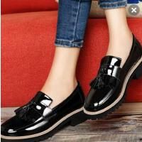 古奇天伦黑色高跟小皮鞋英伦女学院风 新款韩版百搭中跟单鞋