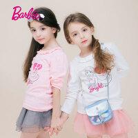 Barbie芭比女童装春季新款长袖T恤中大童纯棉打底衫上衣