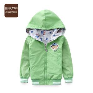 【秋装上新】binpaw童装男童夹克外套 2017春装满印大熊两面穿夹克 宝宝上衣潮