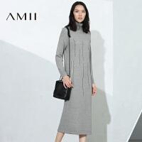 【AMII超级大牌日】[极简主义]2016女冬新品艺术撞色混织高领长款连衣裙11674207