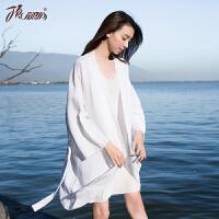 顶瓜瓜睡衣女士春季新款居家浴袍两件套长袖吊带裙套装