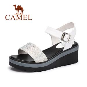 camel骆驼女鞋 夏季新款 休闲简约水钻凉鞋坡跟舒适真皮鞋