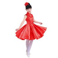 儿童礼服旗袍古典贡缎蓬蓬裙走秀六一演出服连衣裙合唱表演服