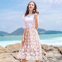 茉蒂菲莉 套装 女式夏季新款短袖T恤+牛仔半身裙显瘦套装裙子高腰短裙2017韩版女潮学生女款两件套