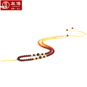 左传 彩虹血珀配珠链3-4mm 渐变效果 佩带美观 合适于配吊坠