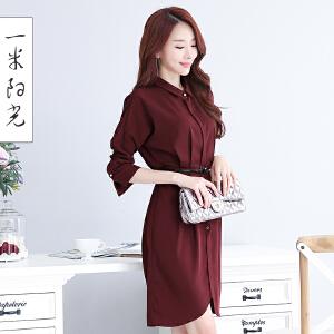 一米阳光2017春秋装新款韩版衬衫连衣裙休闲中长款裙