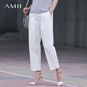 Amii[极简主义]2017夏装新女大码休闲西装插袋阔腿九分裤11780753