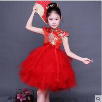 儿童旗袍女童唐装公主裙中国风小孩中国风连衣裙古筝演出服儿童服装支持礼品卡支付