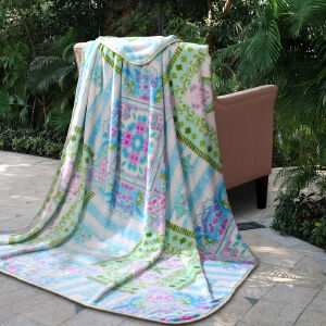 [当当自营]富安娜家纺 法兰绒毯旅行毯盖毯床单毯子多用毛毯 青青田园 蓝色 180*200CM