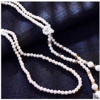 潮流时尚简约长款天然贝壳珍珠精致百搭挂件水晶流珠结毛衣项链 女