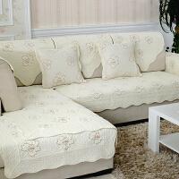 【支持礼品卡支付】双面可用 沙发垫纯棉订做定制沙发布沙发罩全盖沙发床套欧式现代老式折叠三人防滑床笠式无扶手沙发盖简易 米白牡丹