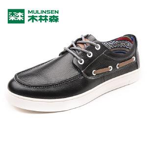 木林森男鞋 2017新款日常休闲皮质板鞋 韩版简约时尚休闲鞋05177325