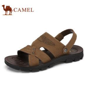camel骆驼男鞋 2017夏季新款凉鞋 沙滩鞋子男士透气牛皮露趾凉鞋
