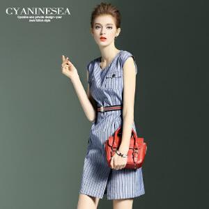 海青蓝夏装新款潮流时尚个性条纹一步裙圆领无袖连衣裙女4742