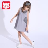 小猪班纳童装女童连衣裙2017夏季儿童裙子女大童无袖背心裙吊带裙