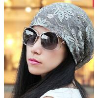 新款时尚超薄水钻头巾帽 包头光头堆堆帽 蕾丝帽孕妇女帽森女帽